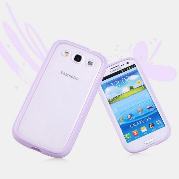 Blue Bumper Transparent Back Soft Skin Case Cover For ...